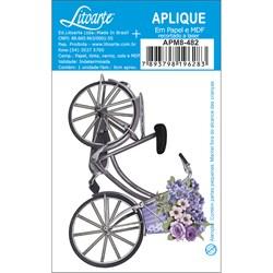Aplique em Papel e MDF APM8-482 Bicicleta com Cesto de Flores