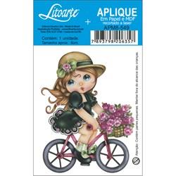 Aplique em Papel e MDF APM8-549 Menina Bicicleta