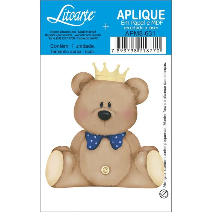 Aplique em Papel e MDF APM8-631 Urso de Coroa-Marinho