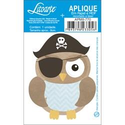 Aplique em Papel e MDF APM8-770 Coruja Masculina Pirata