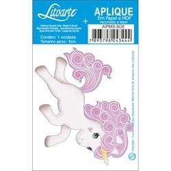 Aplique em Papel e MDF APM8-808 Unicórnio Branco Com Cabelo Rosa