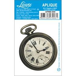 Aplique em Papel e MDF APM8-959 Relógio de Bolso Vintage