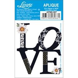 Aplique em Papel e MDF APM8-987 Love Preto e Branco