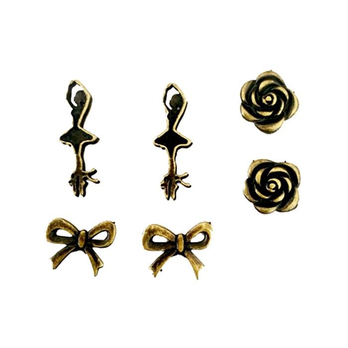 Apliques de Metal Bailarina e Laço KIT-018 Ouro Velho - 6peças