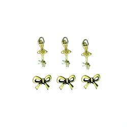 Apliques de Metal Bailarina e Laços KIT06 Ouro Velho - com 6 peças