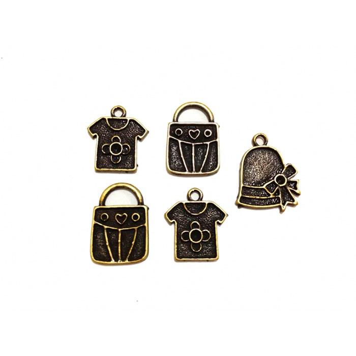 Apliques de Metal Bolsas KIT03 Ouro Velho - com 5 peças