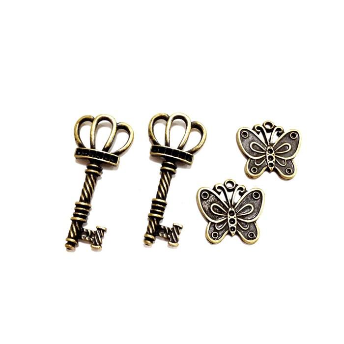 Apliques de Metal Chave e Borboleta KIT01 Ouro Velho - com 4 peças