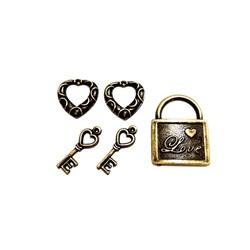 Apliques de Metal Chave e Cadeado KIT02 Ouro Velho - com 5 peças