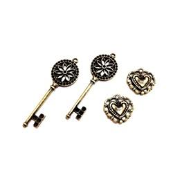 Apliques de Metal Chave e Coração KIT05 Ouro Velho - com 4 peças