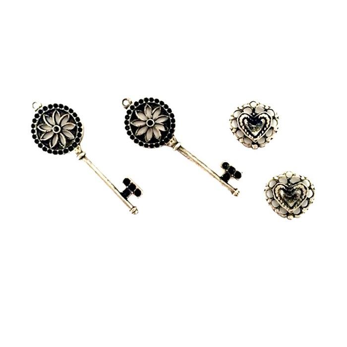 Apliques de Metal Chave e Coração KIT06 Prata Velho - com 4 peças