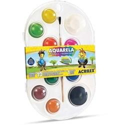 Aquarela Escolar Estojo C/12 Cores + Pincel Acrilex Estojo