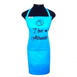 Avental Brim Estampado I Love Artesanato Azul