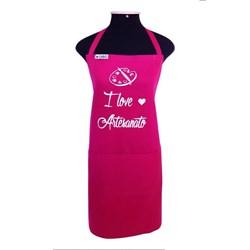 Avental Brim Estampado I Love Artesanato Pink