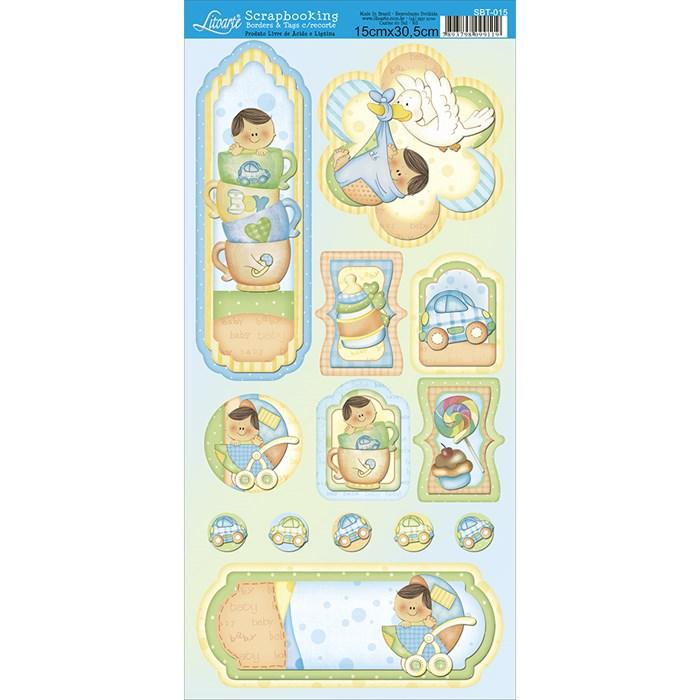 Borders e Tags com Recorte Litoarte SBT-015 Baby Boy II