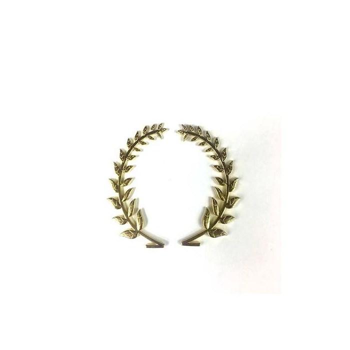 Brasão Coroa de Louro Dourado 7cm BCL01 - com 2 unidades