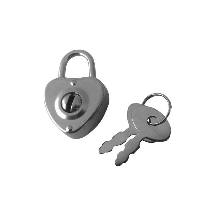 Cadeado Coração com Chave A61/22 Prata - com 1 unidade