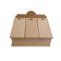 Caixa Organizadora para Talheres com 3 divisórias e tampas 32,5x24,5x20,5cm MDF-69