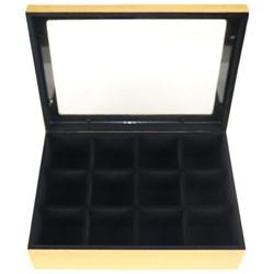 Caixa para Relógios Aveludada 23x23x9cm MDF-57 - 9 Divisórias com vidro