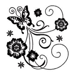Carimbo Arte Fácil CA-349 Borboleta e Flores