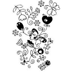 Carimbo Dona Arteira 1728 Flores e Borboleta