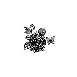 Carimbo Loucas por Caixas LC003 Flor e Borboleta P