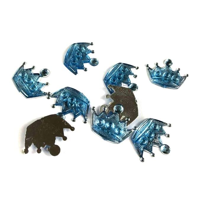 Chaton Coroa G 2,0x1,3cm CT58 Azul Claro - com 10 unidades