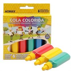 Cola Colorida Acrilex 23g cada - caixa com 6 cores 02606
