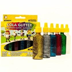 Cola Glitter Acrilex 23g cada - caixa com 6 cores 02923
