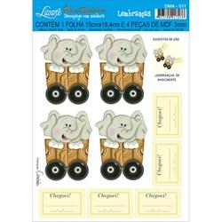 Deco Madeira Apliques Litoarte DMA-011 Elefante