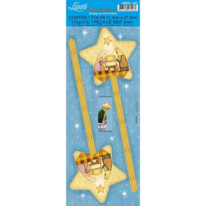 Deco Madeira Especial Natal Litoarte DMEN-005 Estrela de Natal