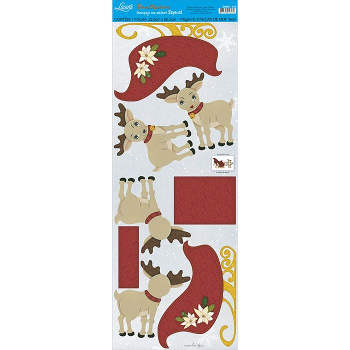 Deco Madeira Especial Natal Litoarte DMEN-019 Charrete Puxada por Rena