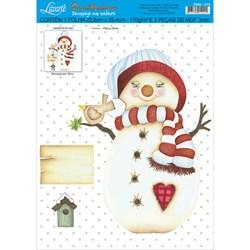 Deco Madeira Natal Litoarte DMN-019 Boneco de Neve