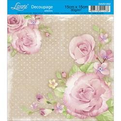 Decoupage Adesivo Litoarte DAXV-052 Rosas com Fundo Marrom