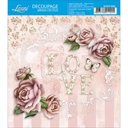 Decoupage Adesivo Litoarte DAXV-053 Love com Rosas Shabby Chic