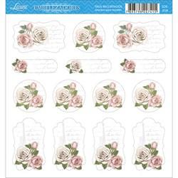 Embelezadores - Tags Recortados - SDE-058 Rosas Com Fundo Branco
