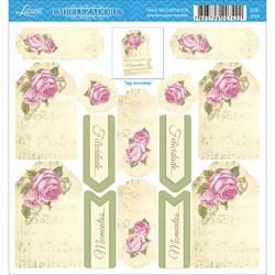 Embelezadores - Tags Recortados - SDE-059 Rosas Com Fundo Amarelo
