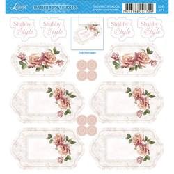 Embelezadores - Tags Recortados - SDE-071 Rosas Shabby Chic