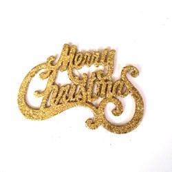 Enfeite Natalino Merry Christmas Dourado - com 1 unidade