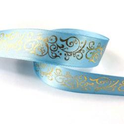 Fita de Cetim 22mm Azul Claro com Arabesco Dourado - com 10 metros