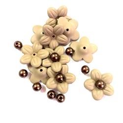 Flor de Acrilico com Perola 10 Unidades - Castor