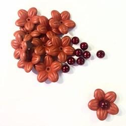 Flor de Acrilico com Perola 10 Unidades - Vermelho