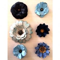 Flor de Papel Artesanal FLS-04 Blue - com 6 unidades