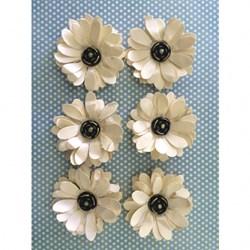 Flor de Papel Artesanal FMG-02 Bege - com 6 unidades