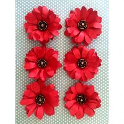 Flor de Papel Artesanal FMG-08 Vermelha - com 6 unidades