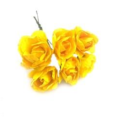 Flor de Papel M RP03 Amarela - com 6 unidades