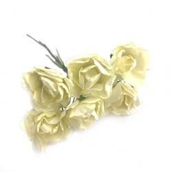 Flor de Papel M RP05 Creme - com 6 unidades