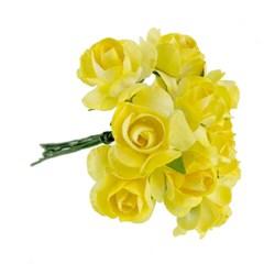 Flor de Papel P Amarela RSP-007 - 12 unidades