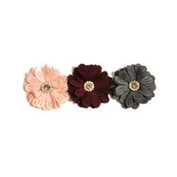 Flor de Tecido com Strass 4cm com 3 unidades