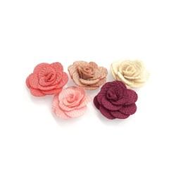 Flor Mini Rosa em TNT 3cm Tons Rosê - 5 unidades