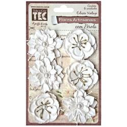 Flores Artesanais com Pérola Branca 15163 Toke e Crie